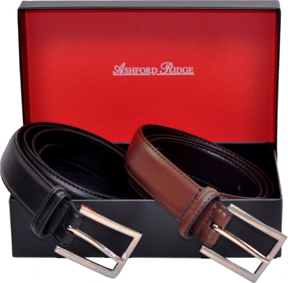 Ashford Ridge Gift Boxed 30mm Twin Belt Gift Set (Black & Brown)